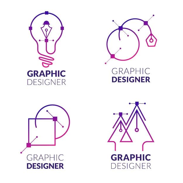 Flache grafikdesigner-logo-sammlung Premium Vektoren