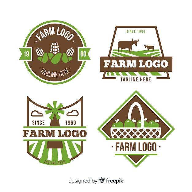 Flache grüne bauernhof logo sammlung Kostenlosen Vektoren