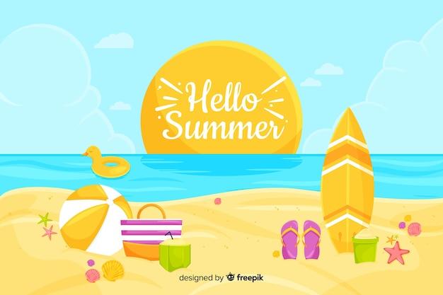 Flache hallo sommer hintergrund Kostenlosen Vektoren