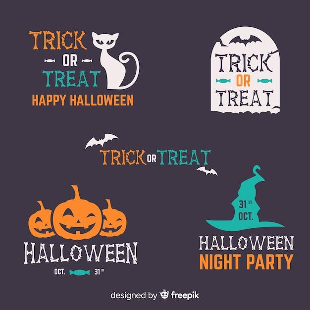 Flache Halloween Aufkleber Und Ausweissammlung Auf