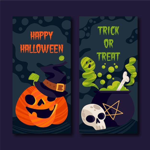 Flache halloween-banner Kostenlosen Vektoren