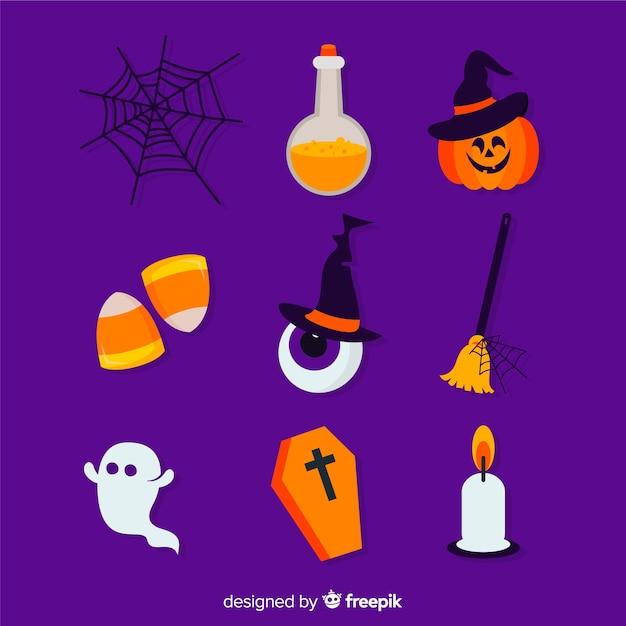 Flache halloween-elementsammlung auf violettem hintergrund Kostenlosen Vektoren