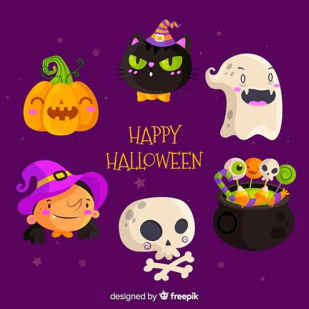 Flache halloween-elementsammlung im purpurroten hintergrund Kostenlosen Vektoren
