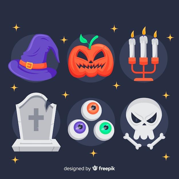 Flache halloween-elementsammlung Kostenlosen Vektoren