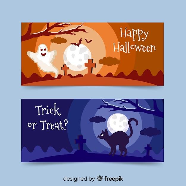 Flache halloween-fahnen mit geistern und katze Kostenlosen Vektoren