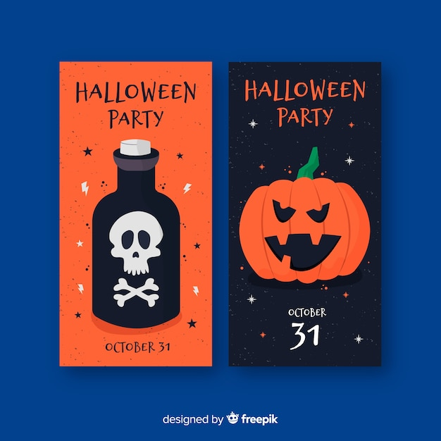 Flache halloween-fahnen mit gift und kürbis Kostenlosen Vektoren