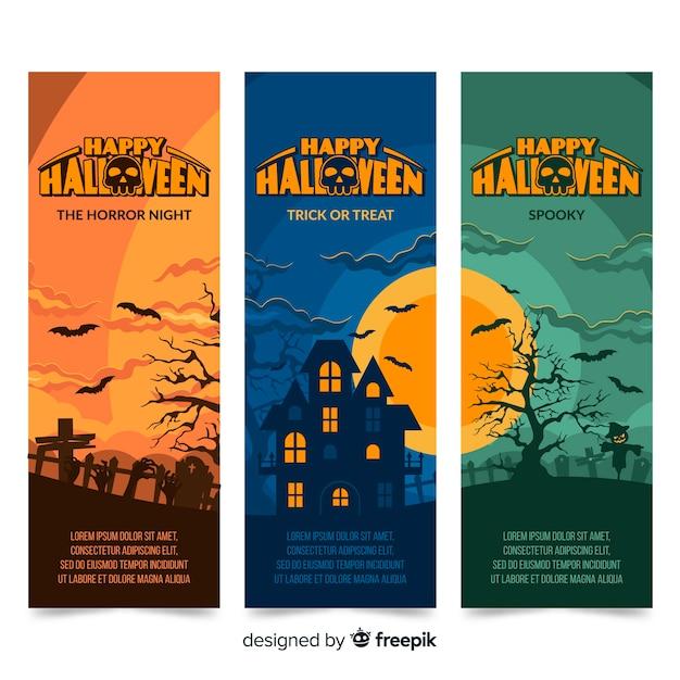 Flache halloween-fahnen mit panoramablick des geisterhauses Kostenlosen Vektoren