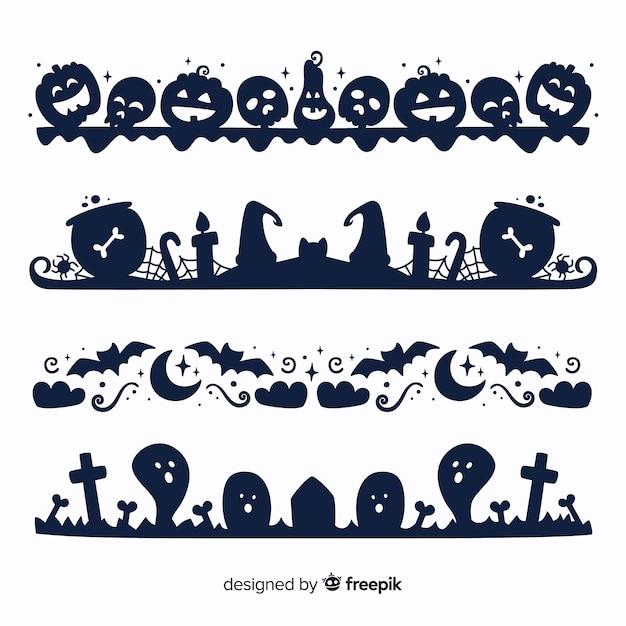 Flache halloween-grenze auf schwarzweiss-sammlung Kostenlosen Vektoren