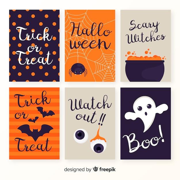 Flache halloween-kartenschablonensammlung Kostenlosen Vektoren