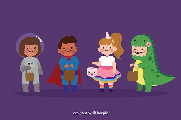 Flache halloween-kinderkostümsammlung Kostenlosen Vektoren