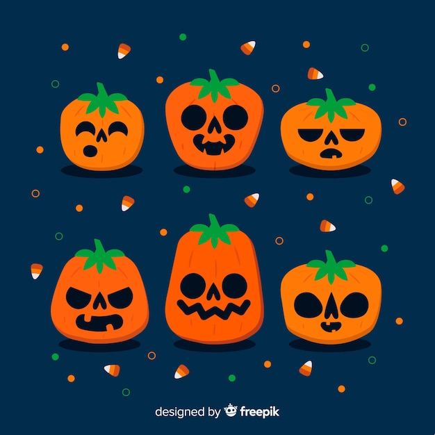 Flache halloween-kinderkürbissammlung Kostenlosen Vektoren