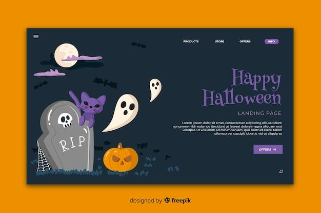 Flache halloween-kirchhoflandungsseite Kostenlosen Vektoren