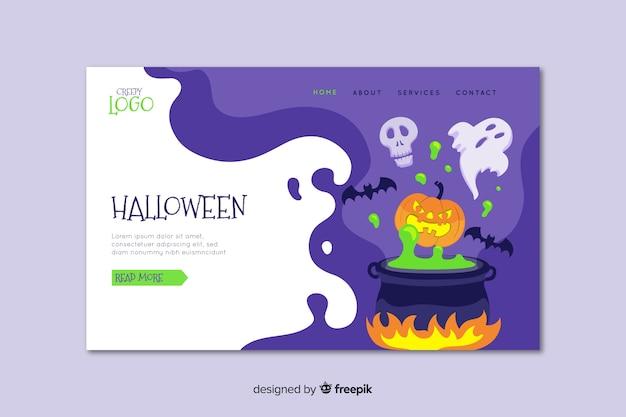 Flache halloween-landingpage mit schmelztiegel Kostenlosen Vektoren