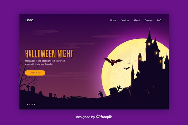 Flache halloween-landingpage Kostenlosen Vektoren