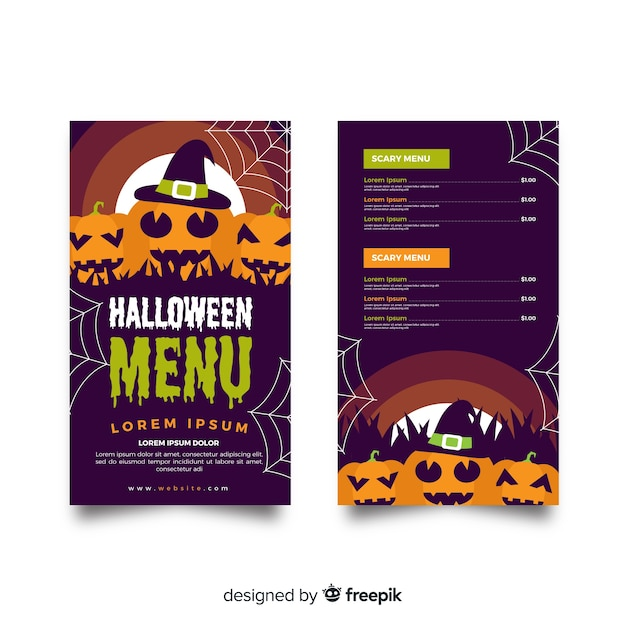 Flache halloween-menüvorlage mit kürbissen Kostenlosen Vektoren