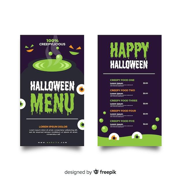 Flache halloween-menüvorlage mit schmelztiegel Kostenlosen Vektoren