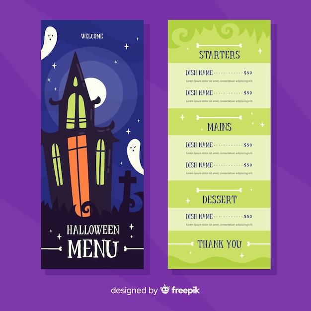 Flache halloween-menüvorlage mit spukhaus Kostenlosen Vektoren