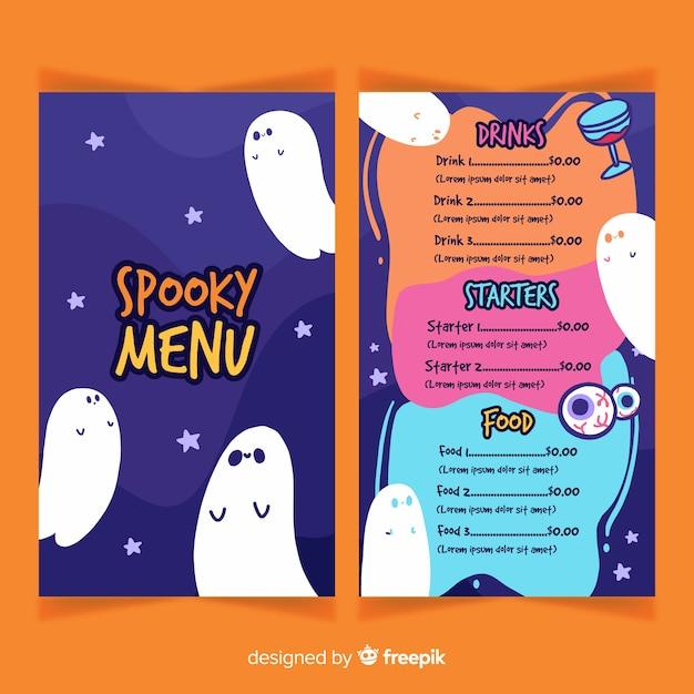 Flache halloween-menüvorlage Kostenlosen Vektoren