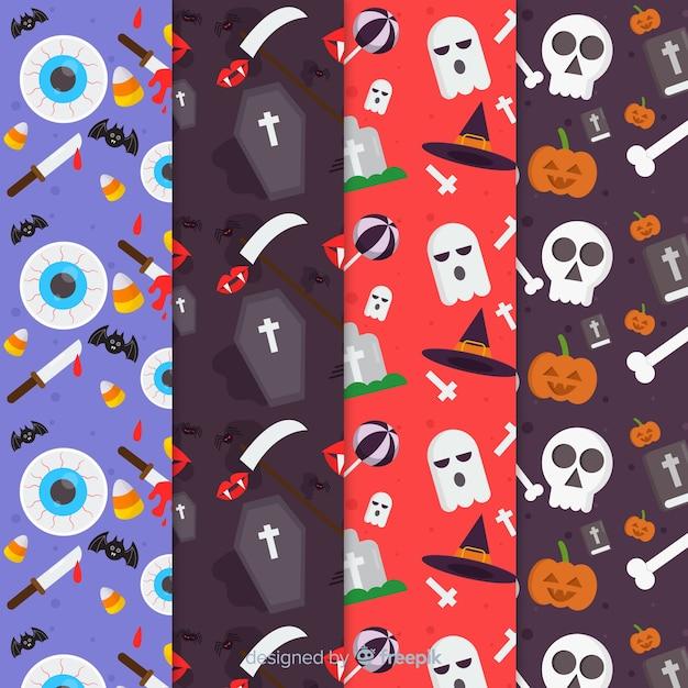 Flache halloween-mustersammlung mit kirchhofelementen Kostenlosen Vektoren