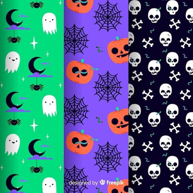 Flache halloween-mustersammlung Kostenlosen Vektoren