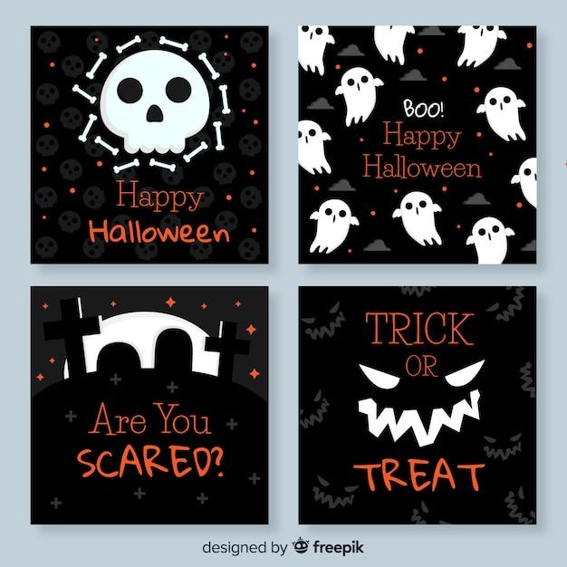 Flache halloween-schwarzweiss-karten Kostenlosen Vektoren