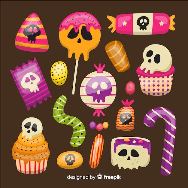 Flache halloween-süßigkeitssammlung Kostenlosen Vektoren