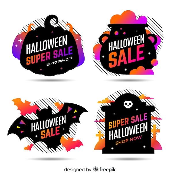Flache halloween-verkaufsaufkleber- und -ausweissammlung im schwarzen design Kostenlosen Vektoren