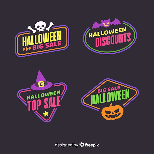 Flache halloween-verkaufsaufklebersammlung Kostenlosen Vektoren