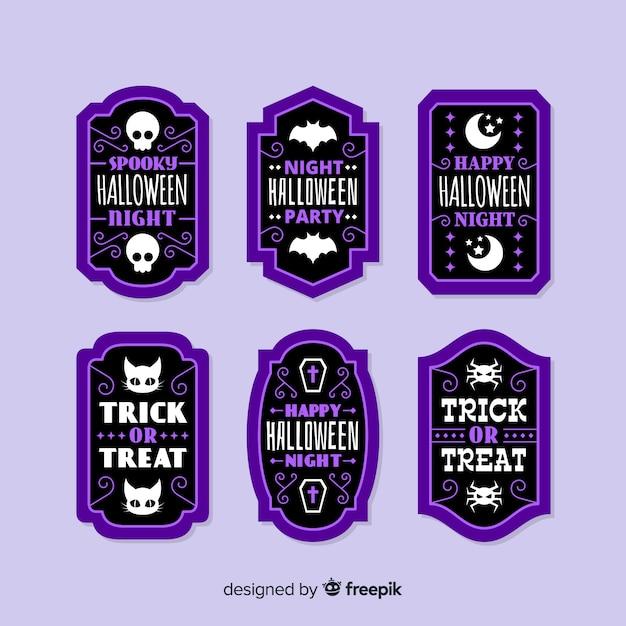 Flache halloween-verkaufsausweissammlung im purpur Kostenlosen Vektoren