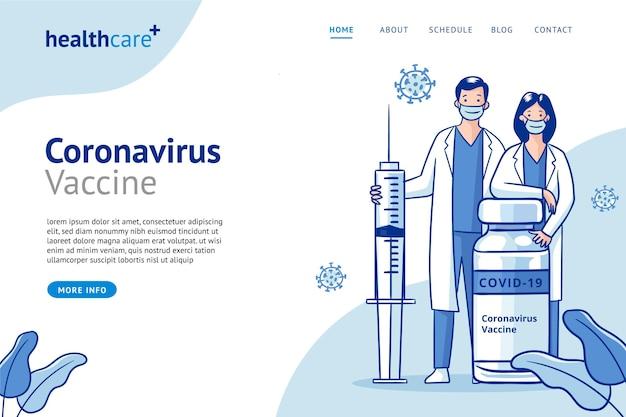 Flache hand gezeichnete coronavirus-impfstoff-landingpage-vorlage Kostenlosen Vektoren