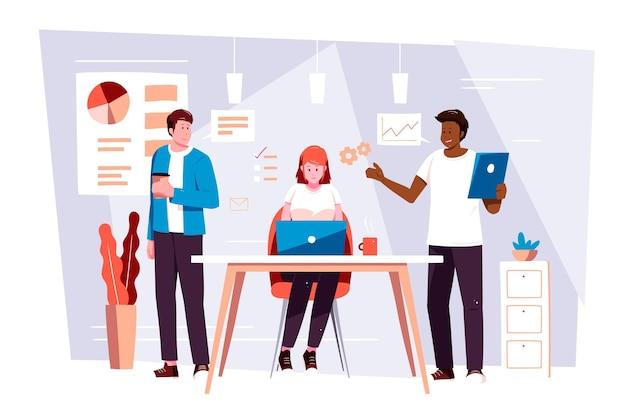 Flache hand gezeichnete doppelmannschaft coworking auf laptops Kostenlosen Vektoren