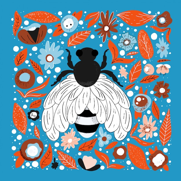 Flache hand gezeichnete illustration der biene. netter charakter. einfache blüten und blätter aus dem regenwald Premium Vektoren