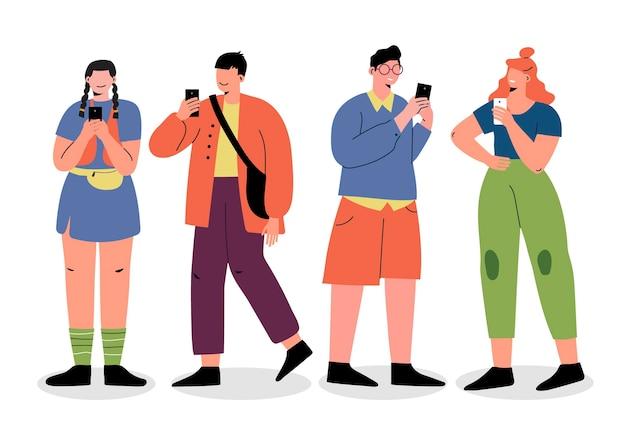 Flache hand gezeichnete junge leute mit smartphones Kostenlosen Vektoren