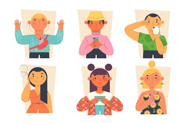 Flache hand gezeichnete junge leute mit smartphones Premium Vektoren