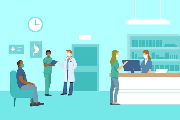 Flache hand gezeichnete krankenhausempfangsszene Kostenlosen Vektoren