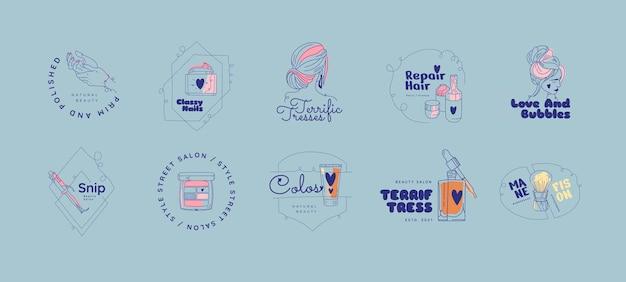 Flache hand gezeichnete schönheitssalon-logo-set Premium Vektoren