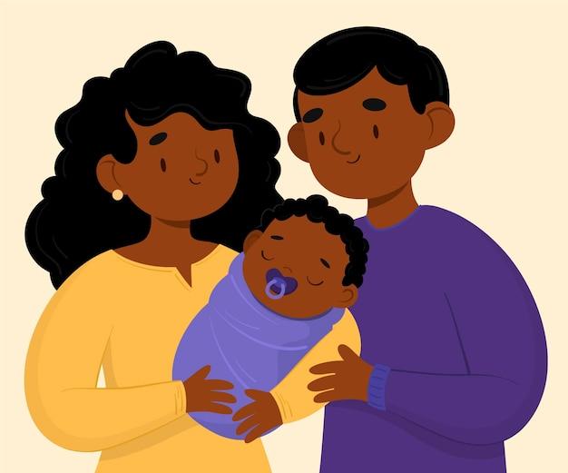 Flache hand gezeichnete schwarze familie mit einem baby Kostenlosen Vektoren