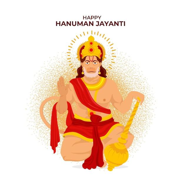 Flache hanuman jayanti illustration Kostenlosen Vektoren