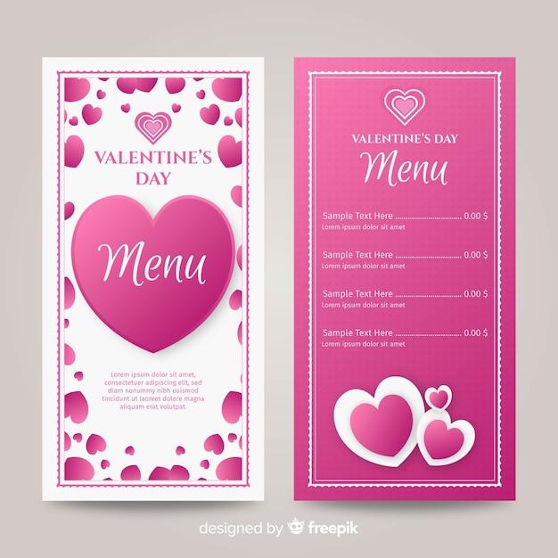 Flache herzen valentinstag menüvorlage Kostenlosen Vektoren