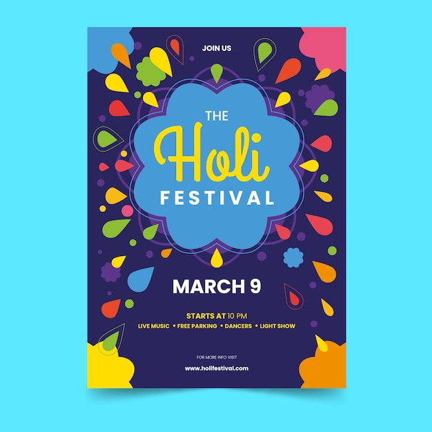 Flache holi festival flyer vorlage Kostenlosen Vektoren