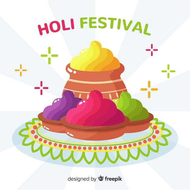 Flache holi festival hintergrund Kostenlosen Vektoren