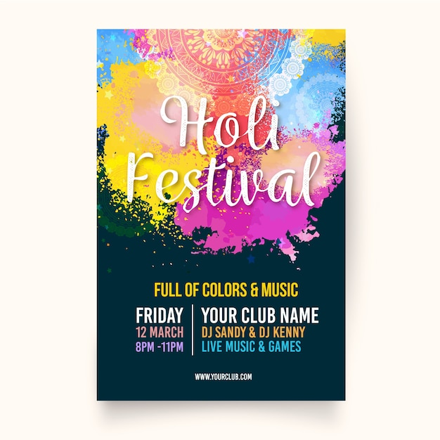 Flache holi festival plakat vorlage Kostenlosen Vektoren
