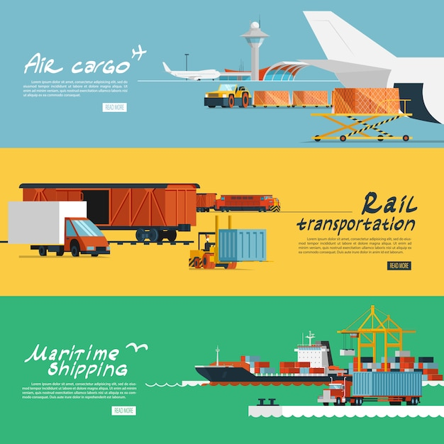 Flache horizontale banner der logistik eingestellt Kostenlosen Vektoren