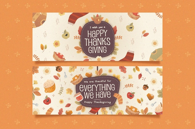 Flache horizontale thanksgiving-banner Kostenlosen Vektoren