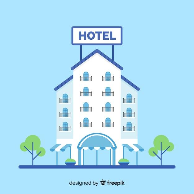 Flache hotelfassade hintergrund Kostenlosen Vektoren