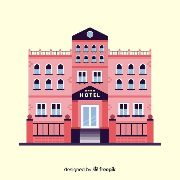 Flache hotelgebäude hintergrund Kostenlosen Vektoren