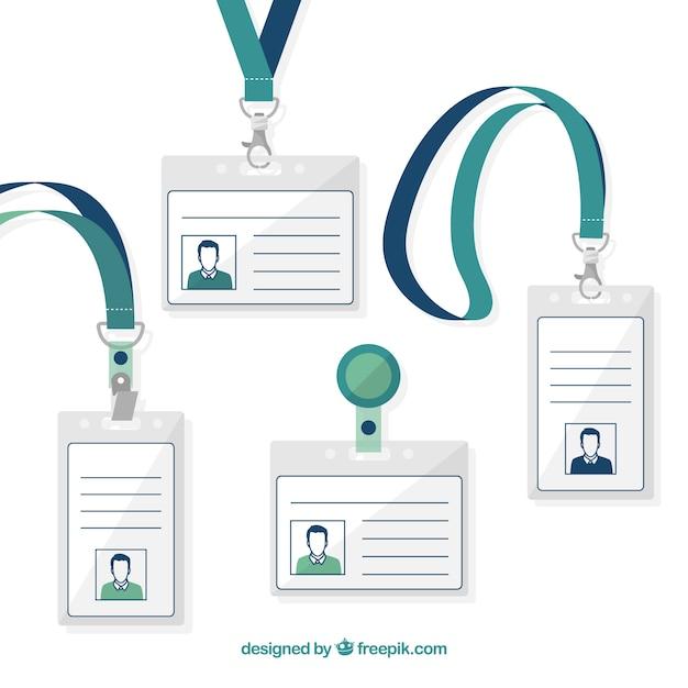 Flache id-karte mit klammern und lanyards sammlung Kostenlosen Vektoren