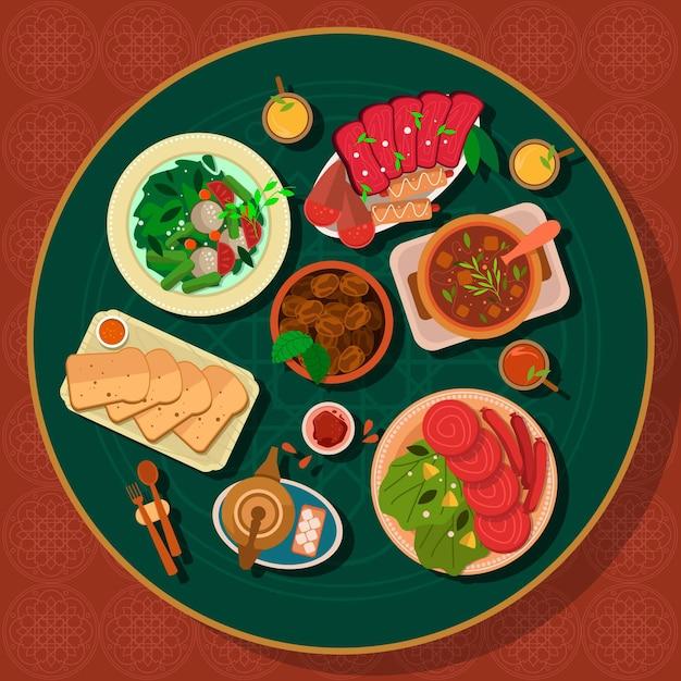 Flache iftar mahlzeit illustration Kostenlosen Vektoren