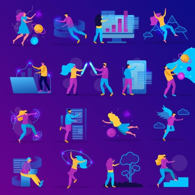 Flache ikone der virtuellen realität, die mit mädchen und jungen spielt, die in vr brille spielen Kostenlosen Vektoren