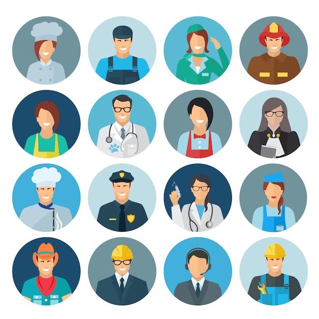 Flache ikone des berufavataras eingestellt mit chefmechanikerpolizisten Kostenlosen Vektoren